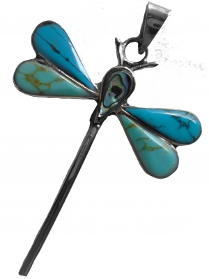Dragonfly Pendant, Turquoise and Abalone shell